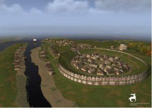 Virtuelle Darstellung der Hammaburg in der Mitte des 11. Jahrhunderts